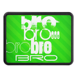 Bro; Neon Green Stripes Tow Hitch Cover