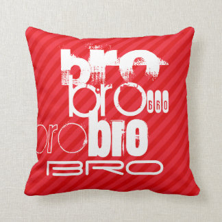 Bro; Scarlet Red Stripes Throw Pillow