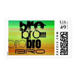Bro; Vibrant Green, Orange, & Yellow Postage Stamp