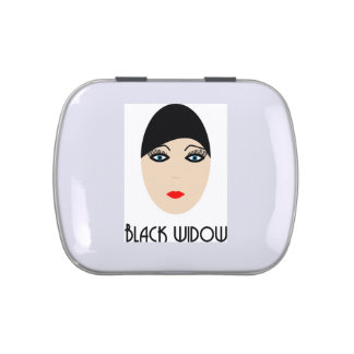 Broad black widow jelly belly tins