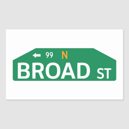 Broad street philadelphia pa street sign rectangular sticker