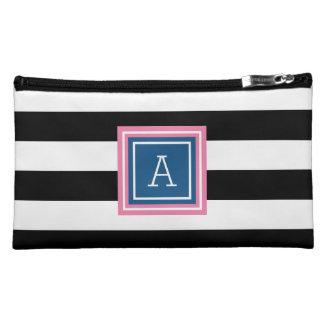 Broad Stripes | Blue & Pink Monogram Cosmetic Bag