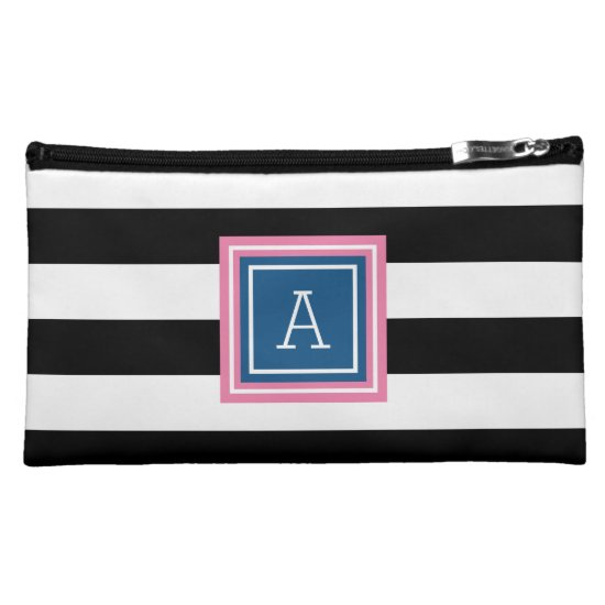 Broad Stripes | Blue & Pink Monogram Cosmetic Bag