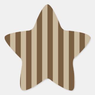 Broad Stripes - Brown 2 - Khaki and Dark Brown Star Sticker