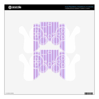 Broad Stripes -Violet1- Wisteria and Pale Lavender PS3 Controller Decals