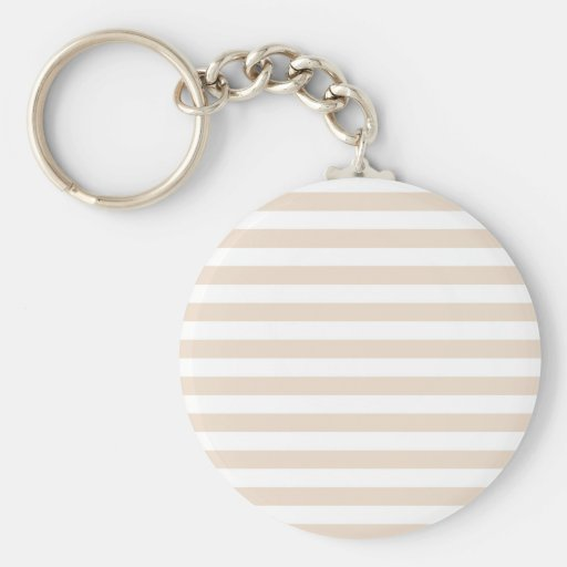 Broad Stripes - White and Almond Keychains