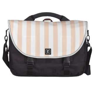 Broad Stripes - White and Apricot Laptop Commuter Bag