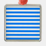 Broad Stripes - White and Azure Christmas Tree Ornament