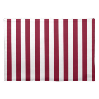 Broad Stripes - White and Burgundy Placemat