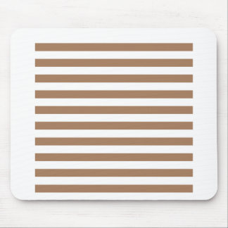 Broad Stripes - White and Cafe au Lait Mouse Pad