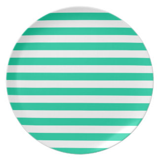 Broad Stripes - White and Caribbean Green Dinner Plates