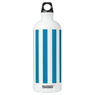 Broad Stripes - White and Celadon Blue Aluminum Water Bottle