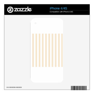Broad Stripes - White and Champagne iPhone 4 Decals