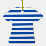 Broad Stripes - White and Cobalt Christmas Ornament