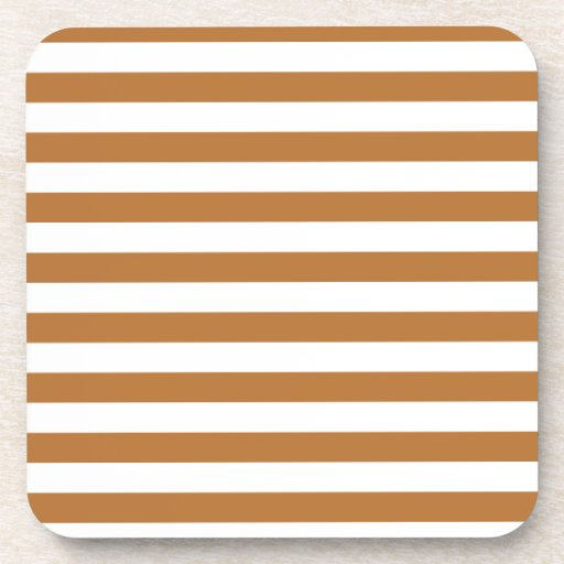 Broad Stripes - White and Copper Drink Coaster