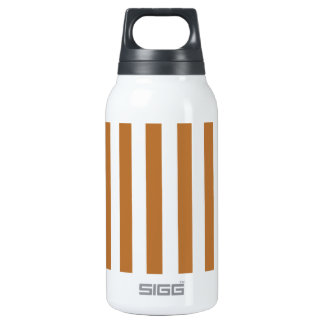 Broad Stripes - White and Copper 10 Oz Insulated SIGG Thermos Water Bottle
