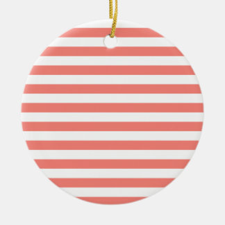 Broad Stripes - White and Coral Pink Ceramic Ornament