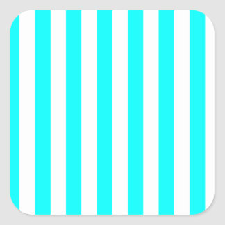 Broad Stripes - White and Cyan Stickers