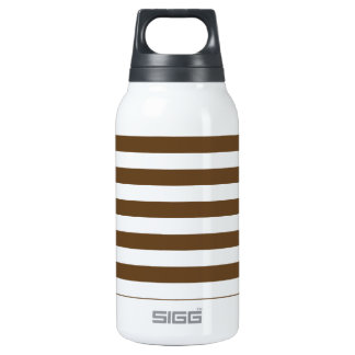 Broad Stripes - White and Dark Brown 10 Oz Insulated SIGG Thermos Water Bottle