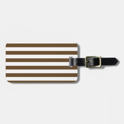 Broad Stripes - White and Dark Brown Travel Bag Tag