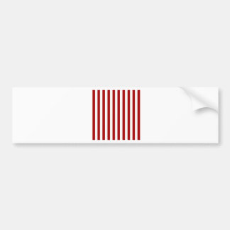 Broad Stripes - White and Dark Candy Apple Red Bumper Stickers