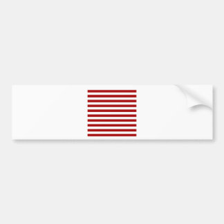 Broad Stripes - White and Dark Candy Apple Red Bumper Sticker