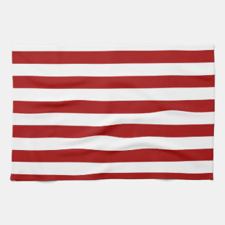 Broad Stripes - White and Dark Candy Apple Red Hand Towel