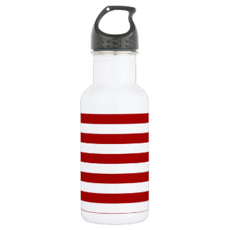 Broad Stripes - White and Dark Candy Apple Red Water Bottle