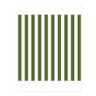 Broad Stripes - White and Dark Olive Green Postcard