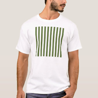 Broad Stripes - White and Dark Olive Green T-Shirt