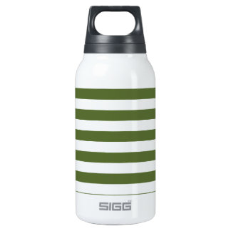 Broad Stripes - White and Dark Olive Green Thermos Bottle