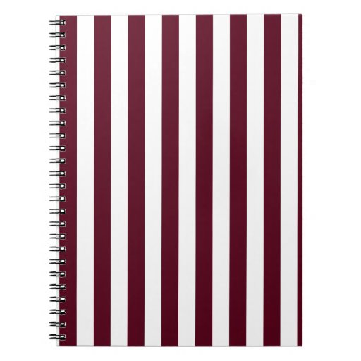 Broad Stripes - White and Dark Scarlet Spiral Note Books
