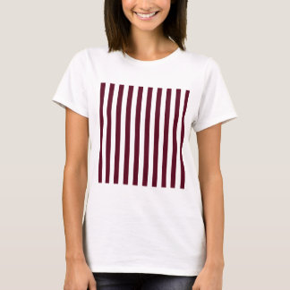 Broad Stripes - White and Dark Scarlet T-Shirt