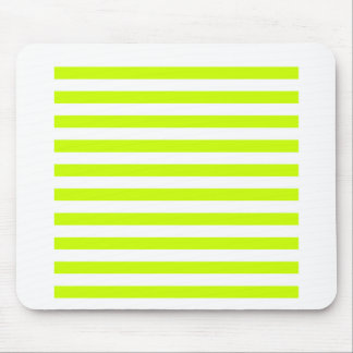 Broad Stripes - White and Fluorescent Yellow Mouse Pads