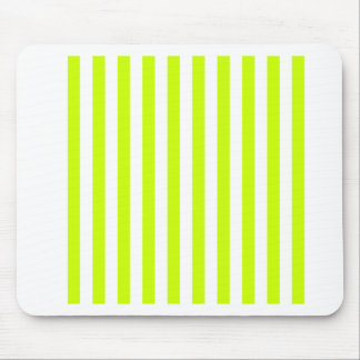 Broad Stripes - White and Fluorescent Yellow Mousepad