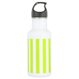 Broad Stripes - White and Fluorescent Yellow Stainless Steel Water Bottle