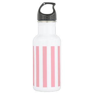 Broad Stripes - White and Light Pink 18oz Water Bottle