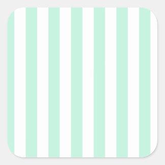 Broad Stripes - White and Magic Mint Square Sticker