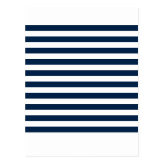 Broad Stripes - White and Oxford Blue Postcard
