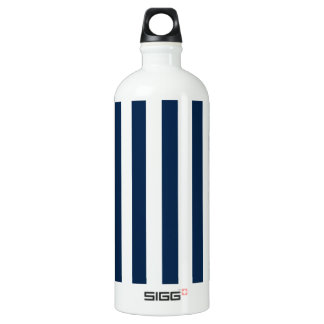 Broad Stripes - White and Oxford Blue Water Bottle
