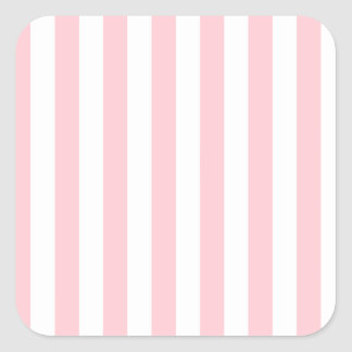 Broad Stripes - White and Pink Square Sticker