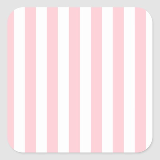 Broad Stripes - White and Pink Square Stickers