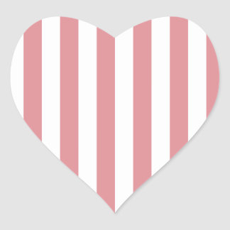 Broad Stripes - White and Ruddy Pink Heart Sticker