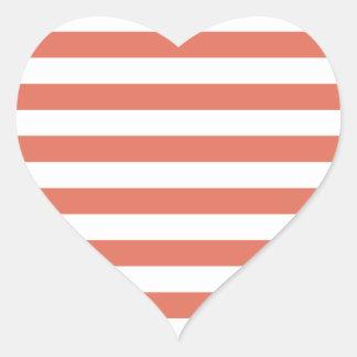 Broad Stripes - White and Terra Cotta Heart Sticker