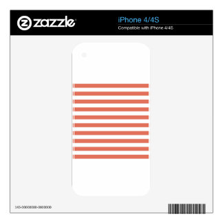 Broad Stripes - White and Terra Cotta Decal For The iPhone 4