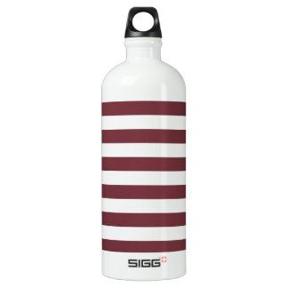Broad Stripes - White and Wine Water Bottle