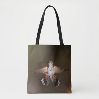 Broad-Tailed Hummingbird showing off Tote Bag