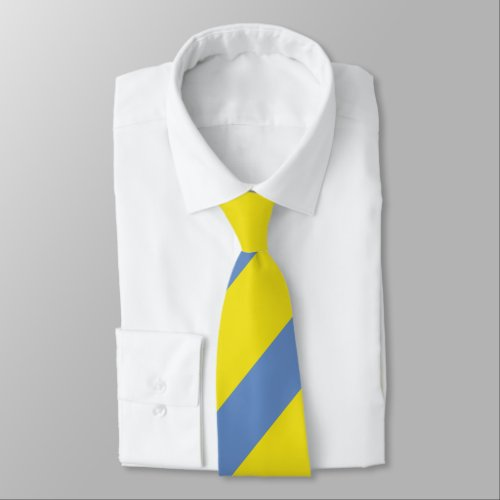 Broad Yellow and Sky Blue Regimental Stripe Tie