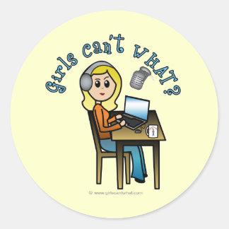 Broadcaster (Blonde) Round Sticker
