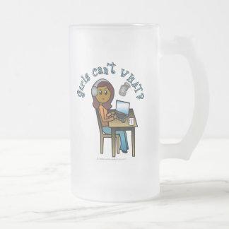 Broadcaster (Dark) 16 Oz Frosted Glass Beer Mug